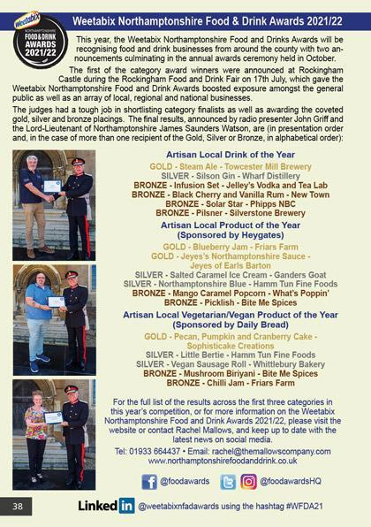 Weetabix Northamptonshire Food & Drink Awards 2020/21