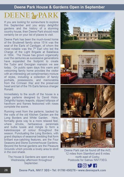 Deene Park House & Gardens Open in September